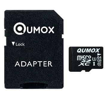 QUMOX 64GB Tarjeta Micro SD de Memoria de Clase 10 UHS-I, Velocidad de Escribir 20 MB/s, Velocidad de Lectura hasta 40 MB/s