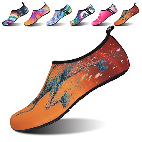 JOINFREE Women's Men's Kid Rreef Water Beach Aqua Shoes Anti-Slip Hoe For Aerobic Exercise Running Orange Medium