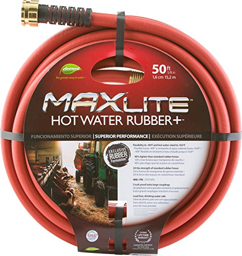 Swan Products CELSGHW58050 Element MAXLite Hot Water Rubber+ Hose with Crush Proof Couplings 50' x 5/8