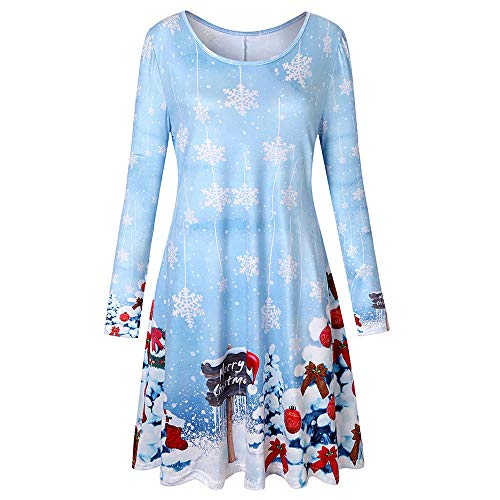 Clearance Sale!!ZEFOTIM Christmas Gift Women Long Sleeve Vintage Xmas Christmas Printing Round Neck Party Dress(X-Large,Sky Blue) ()