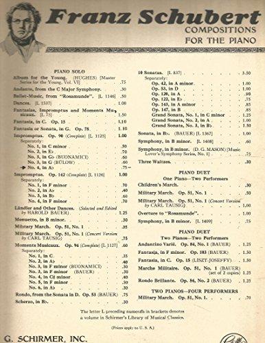 Franz Schubert Op.90, Impromptus No.4 in Ab for Piano Buonamici (Schubert Op 90 No 4 Sheet Music)