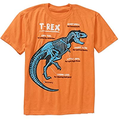 Discovery Channel Boys T-Rex Tshirt, Officially Licensed, Humorously Illustrated, T-Rex Fossil Tshirt