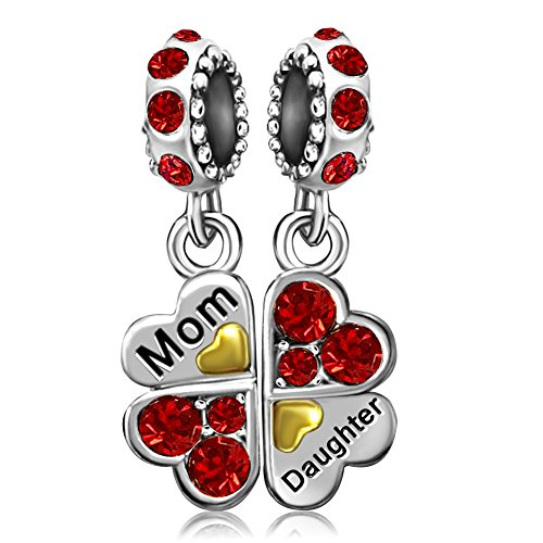 JMQJewelry Mother Daughter Family Charms Clover Heart Red Birthstone Dangle Beads Bracelets Mom
