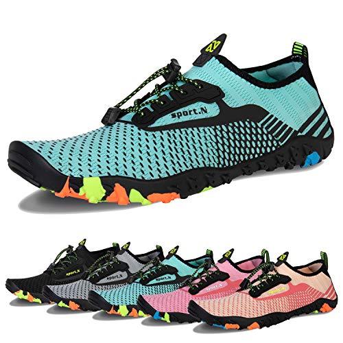 Water Shoes Mens Womens Beach Swim Shoes Quick-Dry Aqua Socks Pool Shoes for Surf Yoga Water Aerobics (J-Light Green, 38)