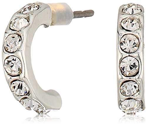 Napier Silver-Tone and Crystal Trio Stud Earrings