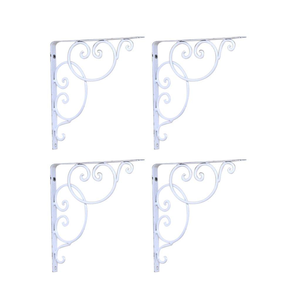 VORCOOL Support Equerre d'étagere en fer forgé équerres murale 4 pièces (Blanc)