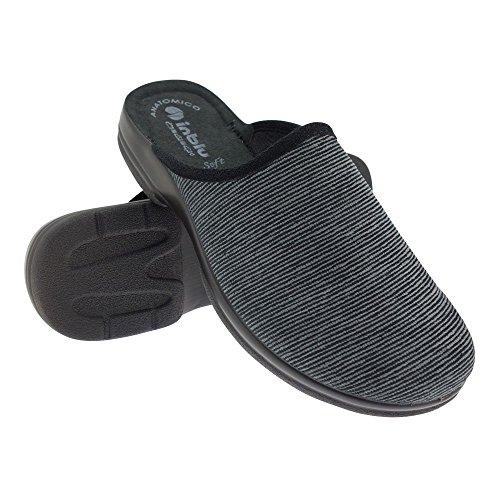 GALLUX - Herren Jungen Hausschuhe Pantoffeln schlichte Schlappen Schwarz