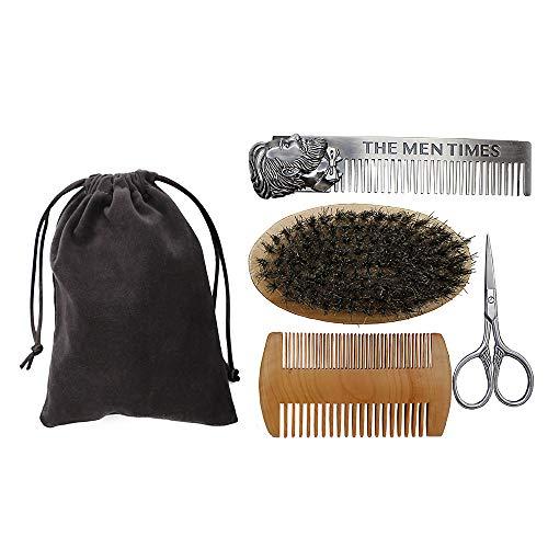 Beard Comb Brush Kit,4 in 1, beard grooming kit, Boar Bristle Beard Brush & Moustache Comb & Scissor, Stainless Steel Comb For ARealToughGuy, Ideal Present For Men (Comb 1 Grooming 4in)