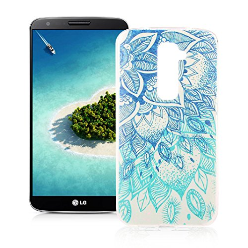 OuDu Silicone Case for LG G2 Soft TPU Rubber Cover Flexible Slim Case Smooth Lightweight Skin Ultra Thin Shell Creative Design Cover - Blue Lotus (Beautiful Lg G2 Phone Cases)