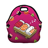 Boys Girls Kids Women Adults Insulated School Travel Outdoor Thermal Waterproof Carrying Lunch Tote Bag Cooler Box Neoprene Lunchbox Container Case (Nice Sleeping Sushi)