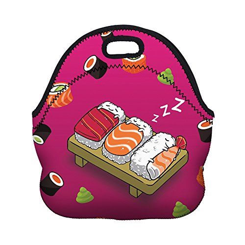 Womens Box School (TOPCHANCES Premium Quaility Thermal Insulated 3D Print Neoprene Lunch Bag Storage Container Picnic Tote Women Kids Lunch Bags Recycled Insulated Lunch Box Food Bag (Sushi))