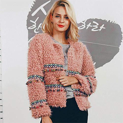 Outwear longues Veste Set Laine Manches à à Tassel Manteau mode chaud Rose Artificielle la Femmes Casual Un Haut Sweat Parka Automne Hiver capuche axUH6w8q