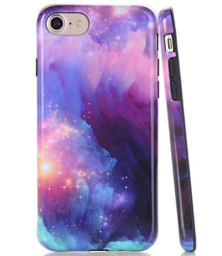info for 33971 259ba Amazon.com: iPhone 8 Case, iPhone 7 Purple & Blue Nebula Galaxy ...