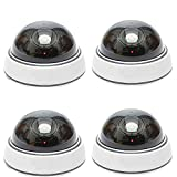 Dummy Dome Security Surveillance Camera - AndThere 4 Pack Fake Waterproof Outdoor Indoor Hemisphere Type Camera Equipment with Red Flashing LED Light