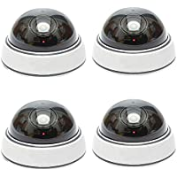 TopYart 4 Pack - Indoor Outdoor Dome Dummy Camera With Blinking Led Lights Fake Camera With Free Surveillance Sign Realistic Looking Dummy Security Camera