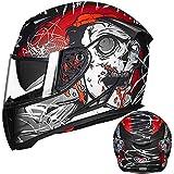 Leoie Full Face Helmet, Motorcycle Helmet Double Lens Anti-Fog Full Helmet for Men Matte Black XXL