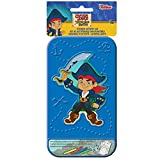 """Amscan Fun Filled Disney Jake and The Neverland Pirates Sticker Activity Kit with Plastic Carrying Case (28 Piece), 4"""" x 8"""", Blue"""