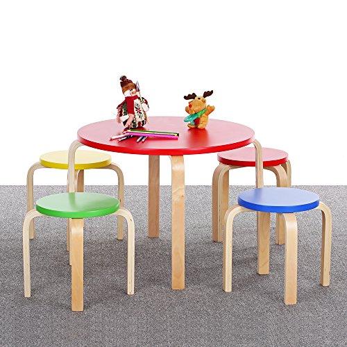 IKAYAA Solid Wood Kids Table and 4 Chairs Set Furniture
