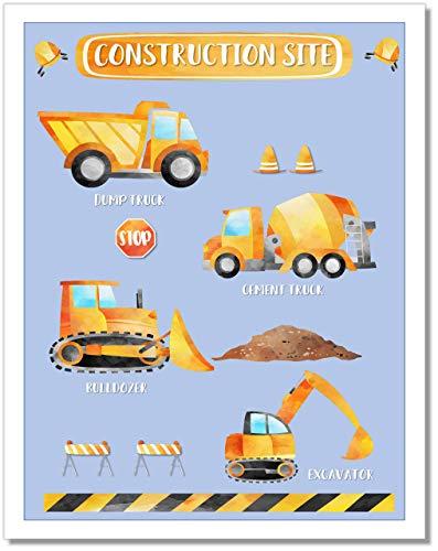 Boys Construction Truck Wall Art Print Poster - 11x14 - Unframed