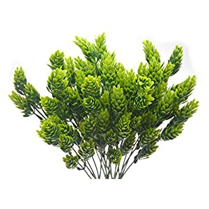 Artificial Fake Flowers Plants, 4pcs Outdoor UV Resistant Faux Green Greenery Fake Plastic Flowers Shrubs Plants Indoor Outside Hanging Planter Home Garden Wedding Décor 40