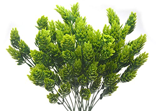 Artificial Fake Flowers Plants, 4pcs Outdoor UV Resistant Faux Green Greenery Fake Plastic Flowers Shrubs Plants Indoor Outside Hanging Planter Home Garden Wedding Décor(Pine Cones)
