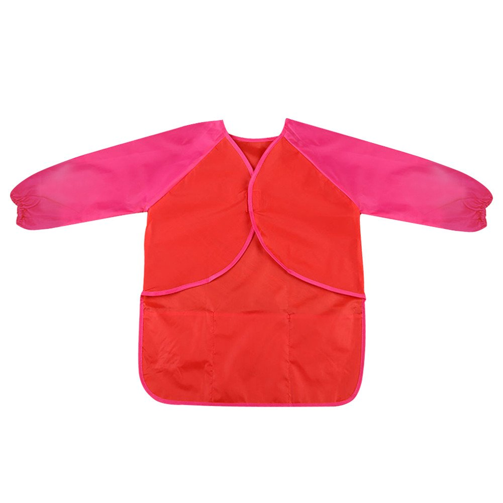 Per Baby Long Sleeves Waterproof Bibs Painting Apron Easy Wear For 3-8 Years Old Kids Children(Red)
