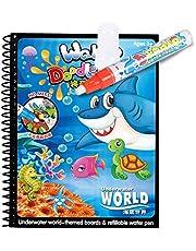 كتاب العاب اطفال تعليمية سحري للتلوين المائي قابل لاعادة الاستخدام بتصميم رسومات متحركة مع قلم ماء للرسم مناسب للاطفال حديثي المشي من موموو بير