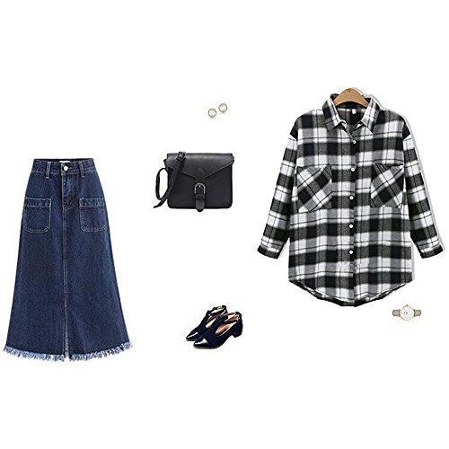 Women's High Waist A Line Denim Skirt Split Fringe Hem Midi Jean Skirt Light Blue Tag 4XL-US XL by Sobrisah (Image #1)