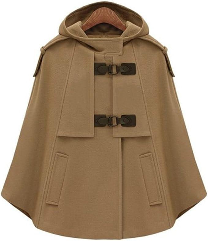 LaoZan Damen Faux Wolle Mantel Jacken Poncho Cape mit Kapuze Wollmantel Jacke