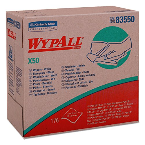Wypall X50 Disposable Wipers (83550), Strong for Extended Use, POP-UP Box, White, 10 Boxes / Case, 176 Sheets / Box, 1,760 Sheets / Case (Professional Wypall Wipers)