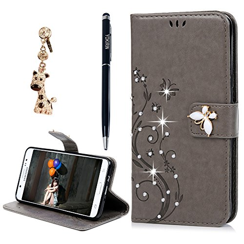 Galaxy J7 LTE (2016) Case,Galaxy J710M Case,YOKIRIN 3D Crystal Rhinestone Shell Embossed Floral Butterfly Flip Leather Wallet Case TPU Inner Card Holder Wrist Strap Skin with Dust Plug & Pen,Gray (The View Halloween 2017)