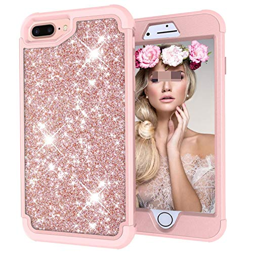 for iPhone 8 7 6 6S Plus X Case Fashion Glitter Shockproof Hybrid Armor Cover Silicone TPU Mobile Phone Protective Shell,Rosegold Rosegold,for iPhone 8 Plus