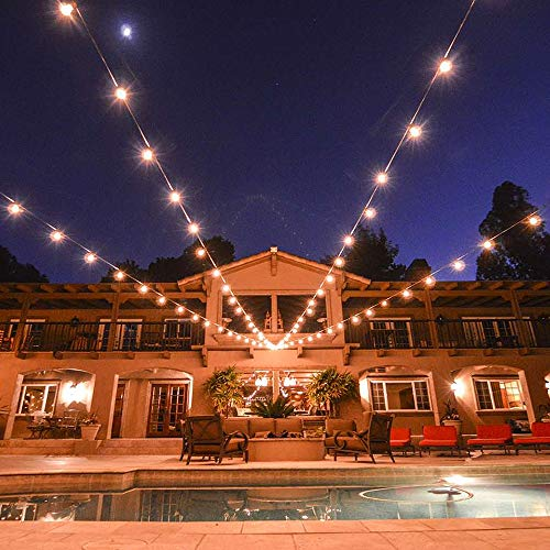 Commercial Grade Outdoor String Lights - 48FT Shatterproof LED String Lights 15 Hanging Sockets Edison Bulbs Heavy-Duty Decorative Lights Weatherproof Cord Strand for Patio Garden Party Christmas Cafe