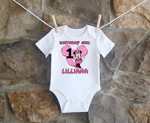 Minnie Mouse Birthday Shirt, Minnie Mouse Birthday Shirt For Girls, Personalized Girls Hot Pink Minnie Mouse Ears Birthday Shirt, Customized Minnie Mouse Birthday Shirt by Lil Lady Treasures