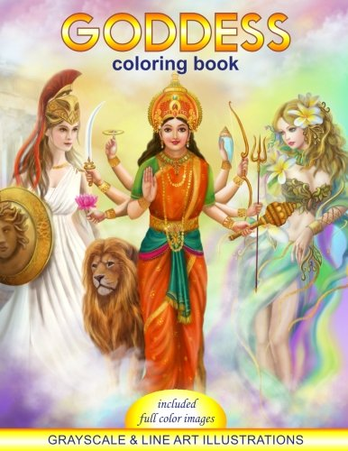 Pdf Crafts Goddess Coloring Book. Grayscale &  line art illustrations: Coloring Book for Adults. Adult Relaxation