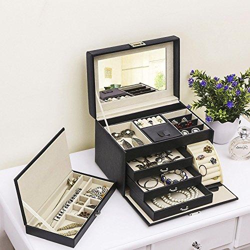 BEWISHOME Jewelry Box Organizer Case Display Storage W/Travel Case Large Mirrored 10 1/4'' x 7 1/16'' x 6 11/16'' Black PU Leather for Girls Women SSH53B by BEWISHOME (Image #1)