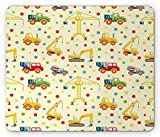 Educational Mouse Pad, Construction Machines Toys Colorful Dots Lorry Truck Tractor, Standard Size Rectangle Non-Slip Rubber Mousepad, Light Yellow Mustard Green,8.66 x 7.08 x 0.118 Inches