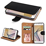 Galaxy J7 Prime Case, SOWOKO Book Style Leather Wallet Case Flip Folio Shockproof Protection Cover with Credit Card Slots and Kickstand for Samsung Galaxy J7 Prime / Galaxy G610F (Black)