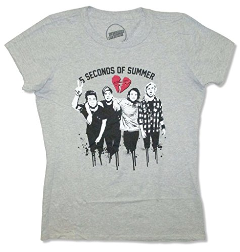5 Seconds of Summer Dripping Band Image Girls Juniors Grey Shirt (XS) by 5SOS
