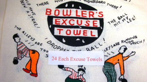 24 Each Bowling Fun Comic Excuse Towel 15'' X 24'' Giant Bowler Exlarge Size Gift Quick by High Skore