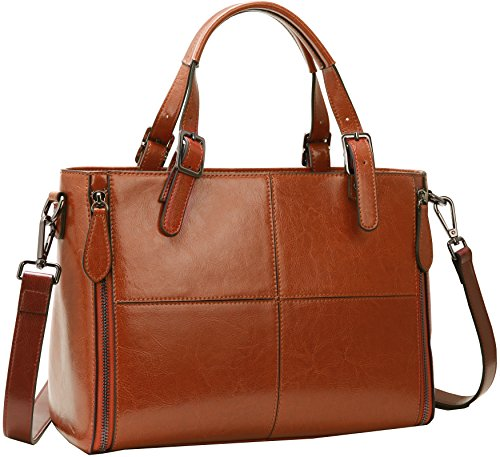 Iswee Leather Handbags Tote Shoulder Bag Purse Top Handle Satchel for Women (Brown-KR002) (Bag Satchel Tapestry)