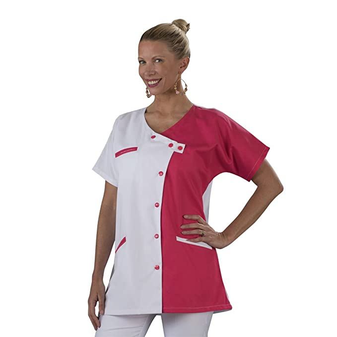 Label Blouse - Bata de laboratorio - Mujer Blanc-rose 46: Amazon.es: Ropa y accesorios