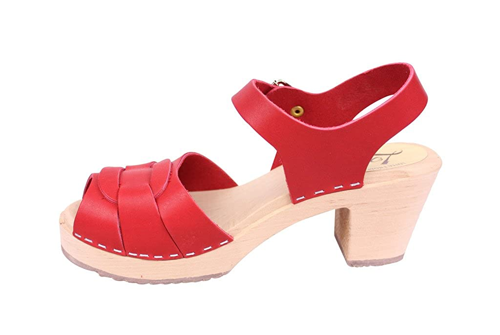 62e5dba0deff7d Lotta From Stockholm   Peep Toe Clogs in Red Leather  Amazon.co.uk  Shoes    Bags