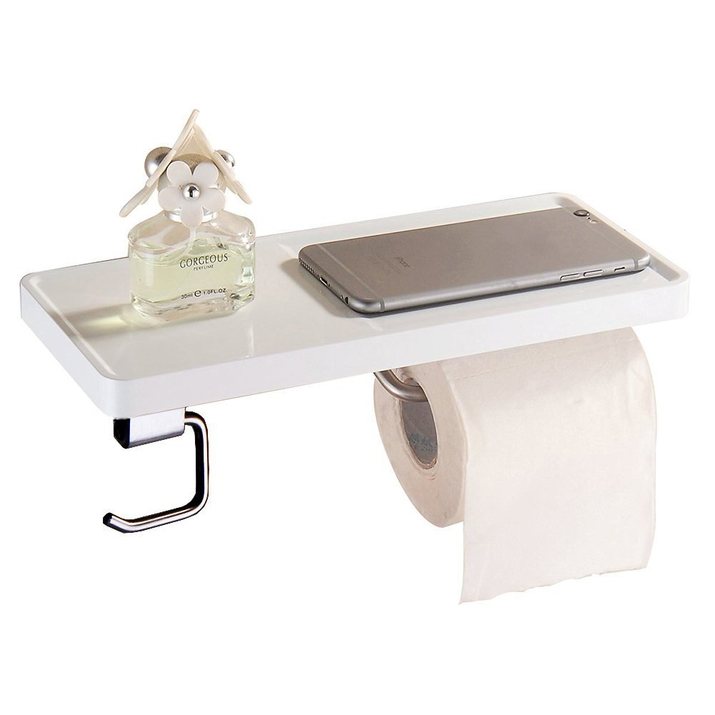 Aothpher Scaffale multifunzione in acciaio INOX con doppio porta carta igienica, pitturato in bianco