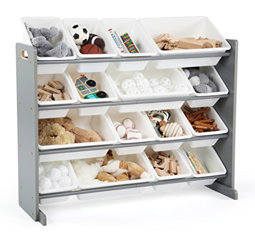 16 Drawer Chest - Tot Tutors WO701 Springfield Collection Supersized Wood Toy Storage Organizer, Extra Large, Grey/White