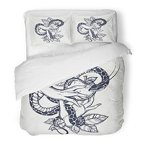 Emvency Decor Duvet Cover Set King Size Eve's Hands with Forbidden Fruit and Snake Tattoo of Biblical Story Eve Vintage 3 Piece Brushed Microfiber Fabric Print Bedding Set Cover