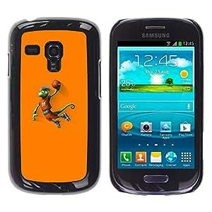 Baloncesto camaleón Lagarto - Metal de aluminio y de plástico duro Caja del teléfono - Negro - Samsung Galaxy S3 MINI i8190 (NOT S3)