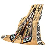 SCOCICI Super-Thick Flannel Warm Sofa or Bed Blanket,Tribal,Ethnic Tent with Ancient Symbols Cultural Unique Bohemian Free Spirit Design,Pale Coffee Brown,39.37' W x 59.06' H
