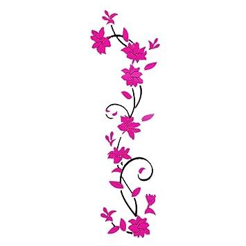 Stickers 3D Mural Fleur ROSE FUSHIA Décor Chambre Salon Créatif ...