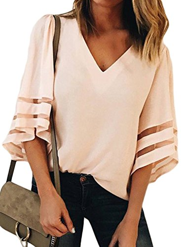 LOSRLY Women Flare Sleeve V Neck 3/4 Bell Sleeve Casual Blouses and Tops-Light Pink S 4 6